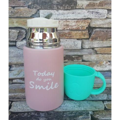 Rózsaszín mini termosz pohárral 220ml