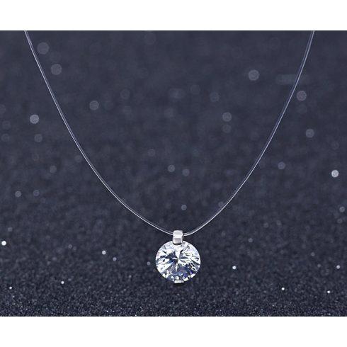 Ezüst kapcsos damil lánc Swarovski kristály medállal