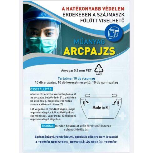 Gumis műanyag arcpajzs 10 darabos kiszerelésben