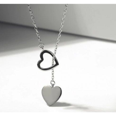 Ezüst nyaklánc dupla szív alakú medállal