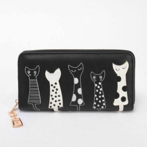 Macskás pénztárca - fekete
