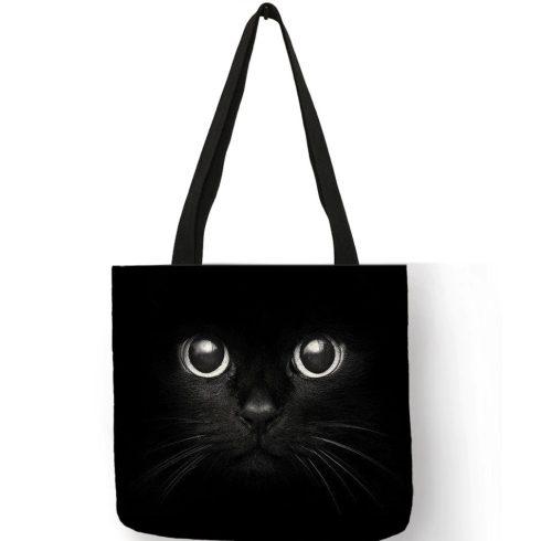 Fekete macskás vászon válltáska, bevásárlótáska