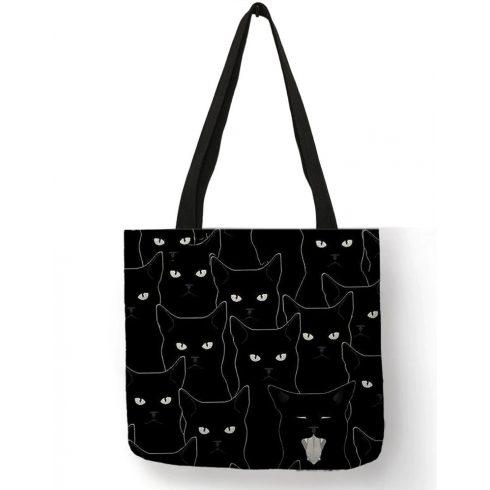 Fekete sok macskás vászon válltáska, bevásárlótáska