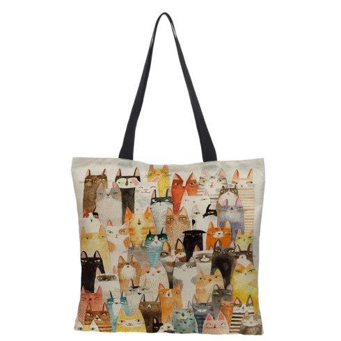 Színes macskás vászon válltáska, bevásárlótáska