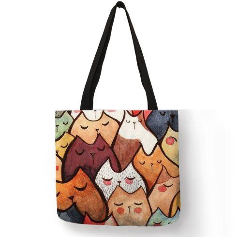 Színes alvó macskás vászon válltáska, bevásárlótáska