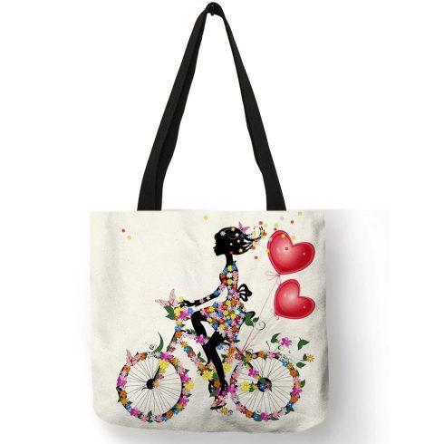 Virágos, biciklis lány mintás válltáska, bevásárlótáska