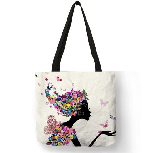 Virágmintás válltáska, bevásárlótáska