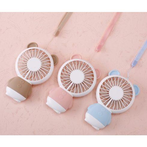 Hordozható, újratölthető mini ventilátor LED világítással többféle színben