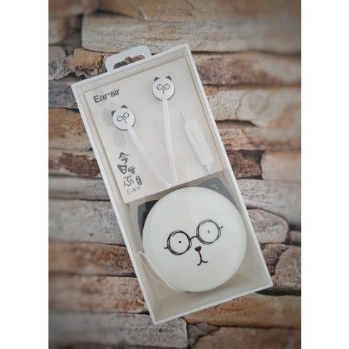 Fehér cicás fülhallgató - szemüveges