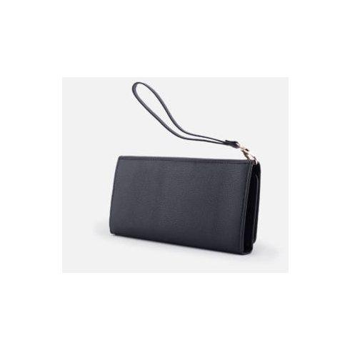 Nagyméretű női pénztárca csuklópánttal - fekete