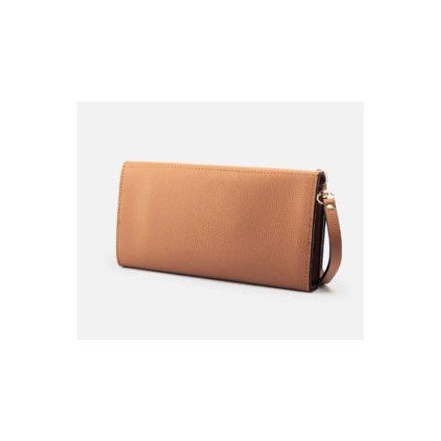 Nagyméretű női pénztárca csuklópánttal - barna