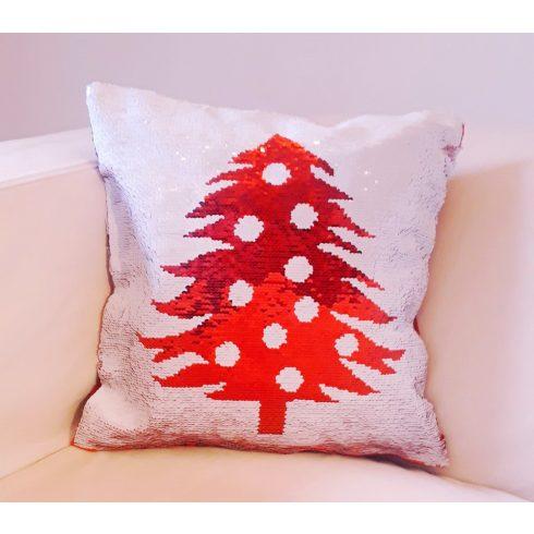 Karácsonyi flitteres párnahuzat - piros